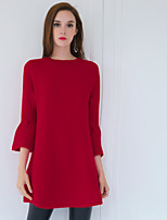 ANGEL Women's Going out Simple Shift / Sweater DressSolid Round Neck Above Knee  Sleeve Red Wool / Others Spring / Fall Mid Rise Micro-elastic