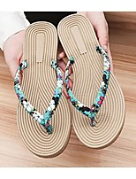 Women's Sandals Summer Comfort Cotton Casual Flat Heel Flower Black / Blue / White Others