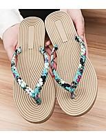 Черный / Синий / Белый-Женский-На каждый день-Хлопок-На плоской подошве-Удобная обувь-Сандалии