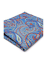 For Men Pocket Square Mens Handkerchief Hanky  Blue Paisley Wedding Business