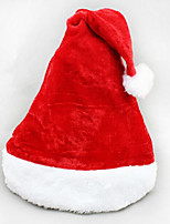 2PCS Christmas Short Plush Velvet Santa Hat Super Soft Christmas Hat