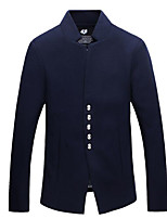 Men's Casual/Daily Simple Jackets,Solid Stand Long Sleeve Fall Blue Polyester Medium