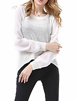 New Arrival/Women's Casual/Daily / Holiday Sexy / Street chic Long PulloverSolid / Striped White / Black Round Neck Long Sleeve Cotton Fall / Winter