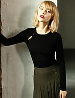 Tee-shirt Femme,Couleur Pleine Décontracté / Quotidien simple Printemps / Automne Manches Longues Col Arrondi Blanc / Noir Coton Opaque