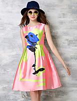 Женский На выход / Вечеринка/коктейль / Большие размеры Винтаж / Уличный стиль / Изысканный С летящей юбкой Платье Цветочный принт,