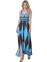 1287 Women's Going out / Party/Cocktail Sexy Chiffon / Swing DressGeometric Strap Maxi Sleeveless Blue Polyester