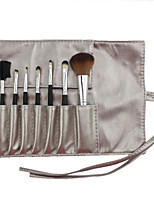 7 Makeup Brushes Set Synthetic Hair Professional / Portable Wood Face / Eye / Lip Silvery
