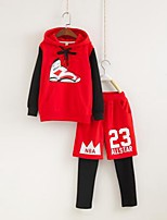 Boy's Casual/Daily Print Clothing SetCotton Spring / Fall Black / Red