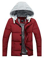 Men's Regular Down CoatSimple/ Polyester Polypropylene / Cotton Long Sleeve Hooded Blue / Red / Black