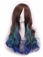 Cosplay Long Wavy Curly Brown Bule To Green Color Synthetic Wig For Christmas Halloween Costume Wig