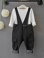 Girl's Casual/Daily Striped Overall & Jumpsuit / Clothing SetCotton Spring / Fall Black