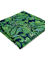 Mens Pocket Square Hanky Handkerchief For Men Green Paisley Jacquard Woven