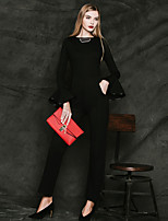 MASKED QUEEN Women's Solid White / Black JumpsuitsSimple Round Neck Long Sleeve