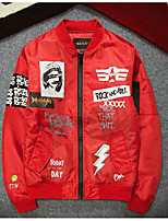 Men's Casual/Daily Simple Jackets,Print / Letter Stand Long Sleeve Fall Red / Black / Green Polyester
