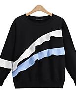Damen Standard Hoodies-Lässig/Alltäglich Einfach Patchwork Schwarz / Grau Rundhalsausschnitt Langarm Polyester Alle Saisons Mittel