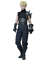 Inspired by Final Fantasy Cloud Strife Anime Cosplay Costumes Cosplay Suits Solid Black Top / Pants / Waist Accessory / Belt