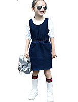 Girl's Wild Solid Strap Denim Skirt Jeans Dress