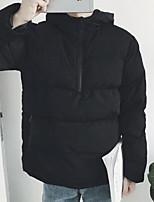 Пальто Простое Обычная На подкладке Мужчины,Однотонный На каждый день Полиэстер Хлопок,Длинный рукав Черный
