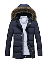 Men's Regular Padded Coat,Simple Plus Size / Casual/Daily / Formal Solid-Polyester Polyester Long Sleeve Hooded Blue / Black