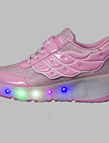 LED Light Up Shoes,Boy's Athletic Shoes Spring Summer Fall Winter Comfort Tulle Outdoor Athletic Casual Wedge Heel Buckle Pink Red White