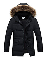 Men's Regular Padded Coat,Simple Casual/Daily Solid-Polyester Polypropylene Long Sleeve Hooded Black