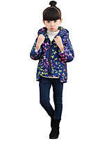 Girl's Casual/Daily Print Down & Cotton Padded,Cotton / Polyester Winter Blue / Red / White