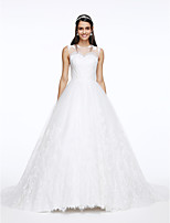 Lanting Bride® A-line Wedding Dress Court Train Jewel Lace / Tulle with Appliques / Button / Lace