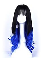 1b / couleur bule longues perruques frisées capless perruques synthétiques pour les femmes afro