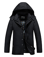 Men's Regular Down Coat,Simple Casual/Daily Solid-Polyester White Duck Down Long Sleeve Blue / Black / Green