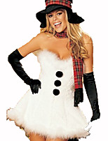 Santa Suits Festival/Holiday Halloween Costumes  White Solid Dress / Gloves Christmas Terylene