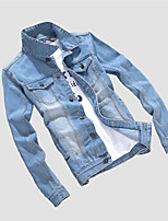Men's Casual/Daily Simple Denim JacketsSolid Shirt Collar Long Sleeve Spring / Winter Blue Cotton / Polyester Medium