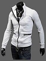 Мужчины На каждый день Однотонный Кожаные куртки Воротник-стойка,Простое Зима Черный / Серый Длинный рукав,Полиэстер,Толстая