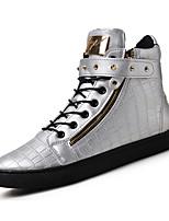 Men's Boots Spring / Fall / Winter Comfort PU Casual Flat Heel Rivet / Hook & Loop / Zipper / Lace-up Black / Brown / Silver Walking