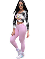 Women's Going out / Casual/Daily / Club Simple / Street chic / Active Fall / Winter T-shirt Pant Suits,Striped / Print U Neck Long Sleeve