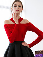 Women's Going out Sexy Simple Regular Pullover,Solid Red Black Halter Long Sleeve Cotton Spring Medium Stretchy
