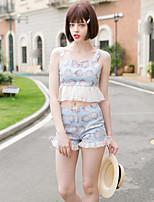Linjou Linjou Women's Going out Cute Summer Set PantPatchwork Strap Sleeveless Blue Cotton Medium
