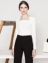 MASKED QUEEN Women's Going out Simple Spring / Fall T-shirtSolid Round Neck Long Sleeve White / Black