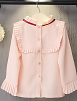 Girl's Casual/Daily Solid BlousePolyester Spring / Fall Pink / Red / White