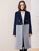 Women's Going out Simple Coat,Color Block Notch Lapel Long Sleeve Winter Gray Wool / Polyester Medium