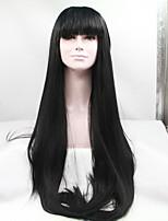 sylvia laço sintético frente peruca longa reta naturais calor preto resistente com franja perucas sintéticas