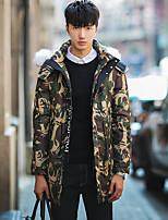 Men's Down Coat,Street chic Plus Size Camouflage-Polyester White Duck Down Long Sleeve Hooded Red / Gray / Green