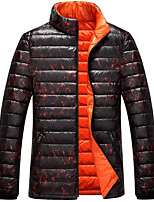 Men's Regular Down Coat,Simple Casual/Daily Solid-Polyester White Duck Down Long Sleeve Stand Blue / Black / Orange