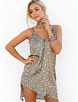 Women's Casual/Daily Sexy Loose Dress,Polka Dot Strap Mini Sleeveless Gray Cotton Spring / Summer Mid Rise Micro-elastic Thin