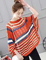 Women's Casual/Daily Simple Regular Cloak / CapesStriped  Round Neck  Sleeve  Spring / Fall