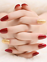 Wine Red And Gold Nails Temperament Beauty Fashion 1Set