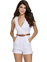 Women Casual Deep V Neck Overalls Sleeveless Romper Short Pant Jumpsuits with Belt
