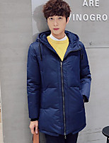 Men's Padded Coat,Simple Casual/Daily Solid-Cotton Cotton Long Sleeve Hooded Blue / Black
