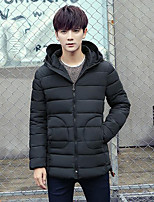 Men's Regular Padded Coat,Simple Casual/Daily Solid-Polyester Cotton Long Sleeve Hooded Blue / Red / Black / Gray