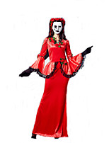 Fantasias de Cosplay Mago/Bruxa / Rainha / Vampiros Cosplay de Filmes Vermelho Cor Única Vestido / Decoração de CabeloDia Das Bruxas /