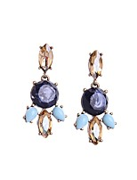 European Luxury Gem Geometric Earrrings Exaggerated Multicolor Drop Earrings for Women Fashion Jewelry Best Gift